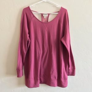 Ava & Viv Pink Mesh Back Long Sleeve Sweatshirt 2X